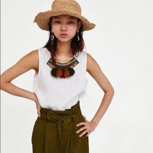Zara 100% linen embellished tassel Tank top